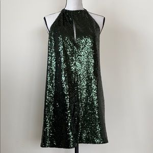 Beautiful Dark Green Sequin Halter Dress